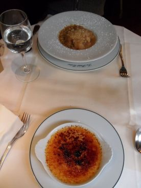 Pear crumble and creme brulee