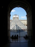 Looking at Pyramide du Louvre from inside the Louvre