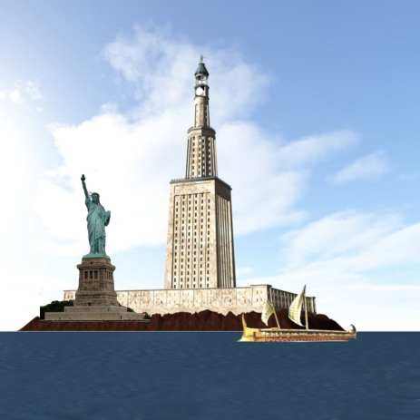 A height comparison between the Statue of Liberty and the Lighthouse Of Pharos.