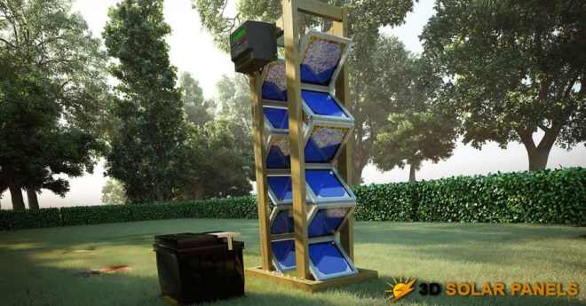 3D solar panel array