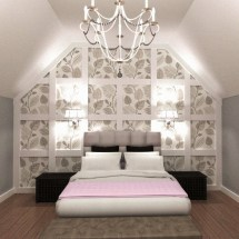 bedroom, modern, glam, modern glam, classy, classic, white, grey, wallpaper, wall paper, white grey pink, pink, gray, bed, wall framing, wall frame, wall trim, boxes, chandelier, chandelier in bedroom, master, double bed, queen bed, interior design, orangeville, shelburne, ontario, dufferin county