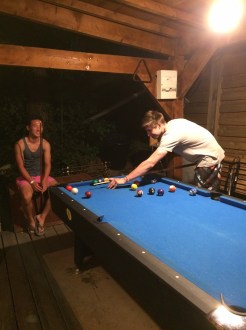 Playing pool at the hostel!