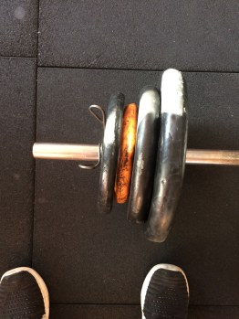Making do with the interesting weights at the gym...