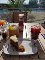 beet juice and carrot cake at the lido