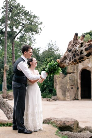 The husband & I on our wedding day, feeding a giraffe.