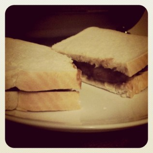 Today is all about...the sausage buttie (with loads of brown sauce)
