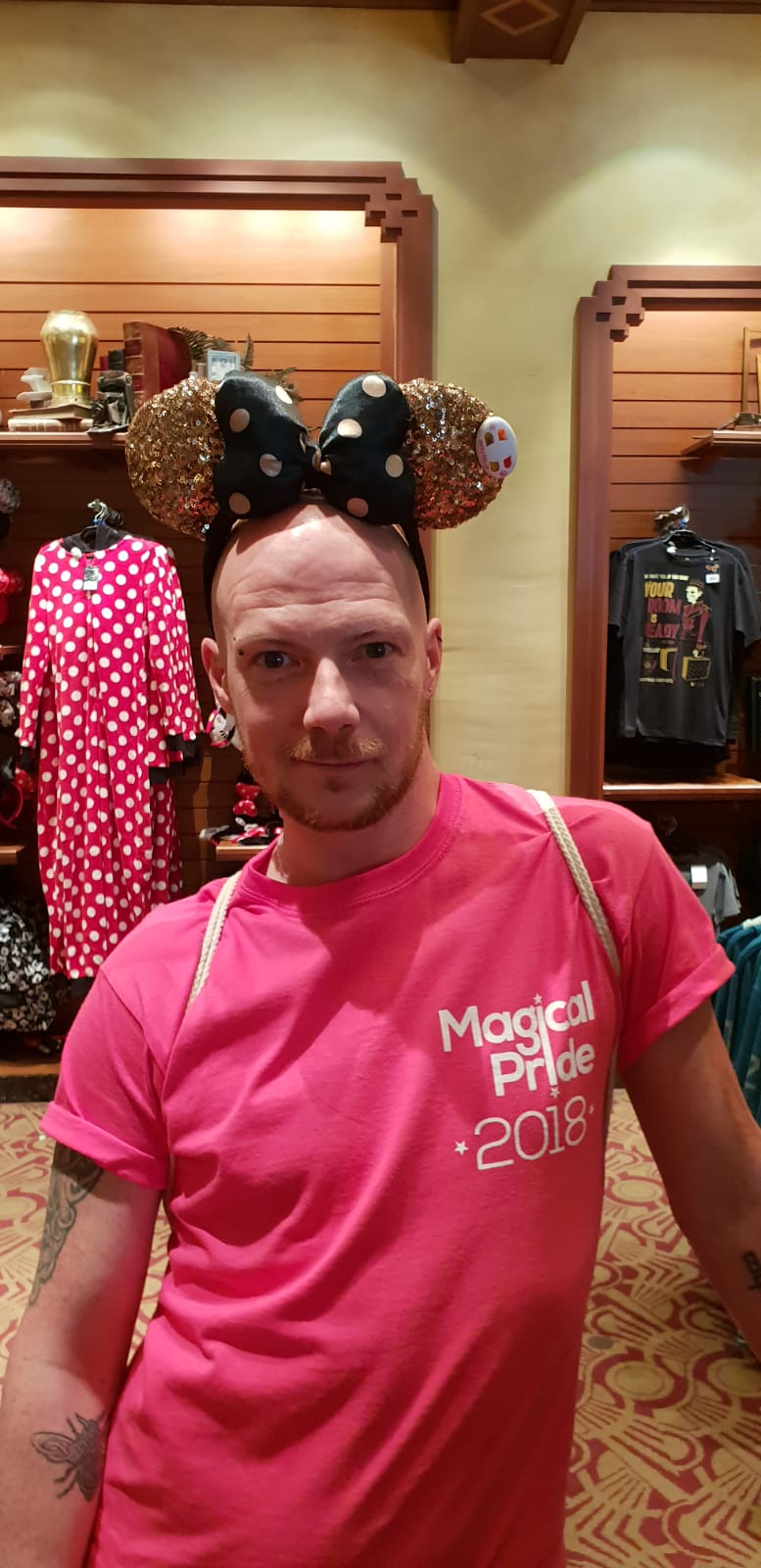Me wearing sparkly Minnie Mouse ears