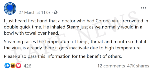 Facebook post where someone is falsely stating that steam will inactivate coronavirus.