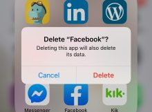 Delete Facebook? message