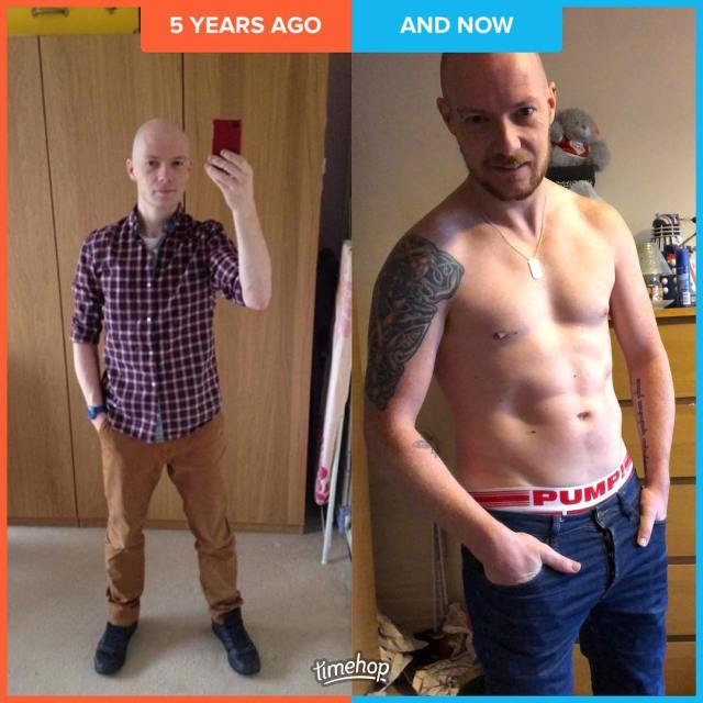 Then and now image of my body when I was skinny, and now I'm more muscular