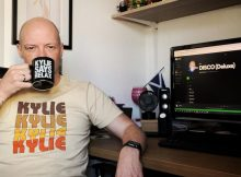 Me wearing a Kylie T-Shirt, drinking from a Kylie Mug, listening to Kylie