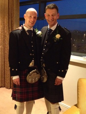 Husband and I in our kilts for our wedding