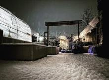 View of the garden covered in snow