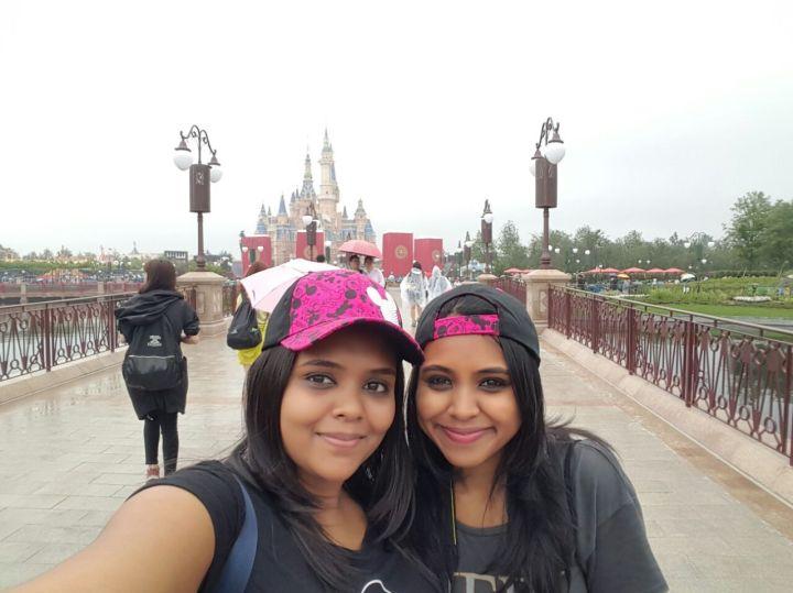 Sisters at Shanghai Disney opening