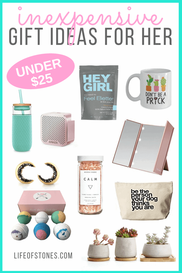 Need a gifts for women who have everything? Check out these awesome affordable gifts for her! If you're on a budget and need some inexpensive gifts for her these are affordable gifts for her! Fun and frugal, at $25 or less! #giftsforher #cheapgiftsforwomen #giftguide