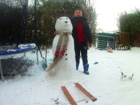 Nick and the Snowman Skiing