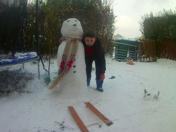 Happy with the snowman