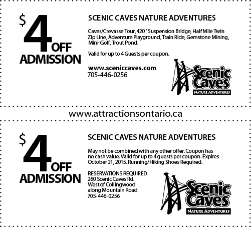 Scenic Caves Coupon, Attraction Ontario Coupon, Day Trips Ontario,
