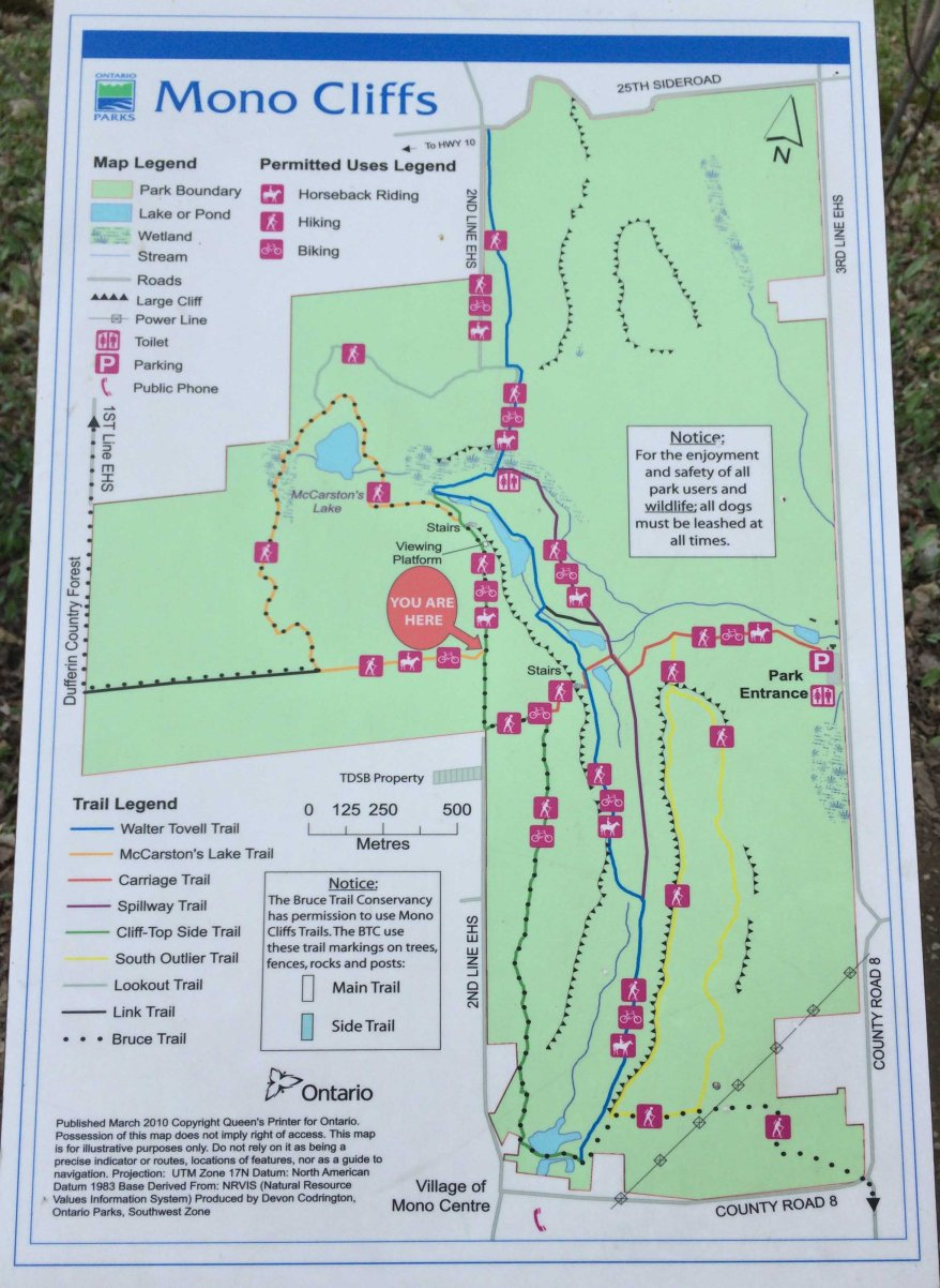 Mono Cliffs Provincial Park Map, Mono Cliffs Hiking Trails, Hiking Trails Caledon, Hiking Trails Ontario,