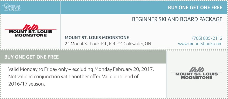 Mount St. Louis Moonstone Ski Coupons, Coupons Ontario, Ski Coupons 2017,