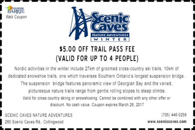 Scenic Caves Nordic Skiing coupon, Skiing Coupons Ontario, Ontario Winter Coupons,