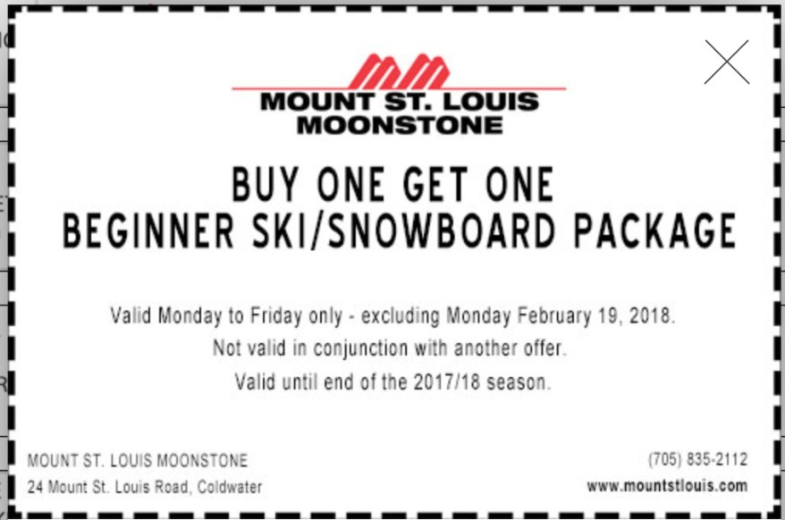 Printable Skiing Coupons Ontario, Alpine Skiing Coupons, Things to do in Winter in Ontario,