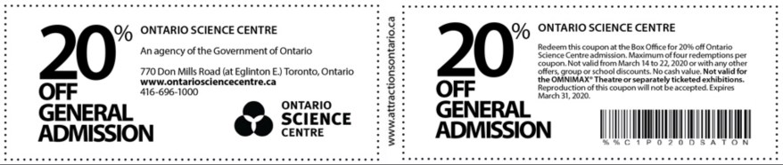 Ontario Science Centre Coupon