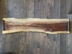 Live Edge Dark Walnut Charcuterie Board with handles and personalized laser engraving 42 by 9 to 10 inches $270