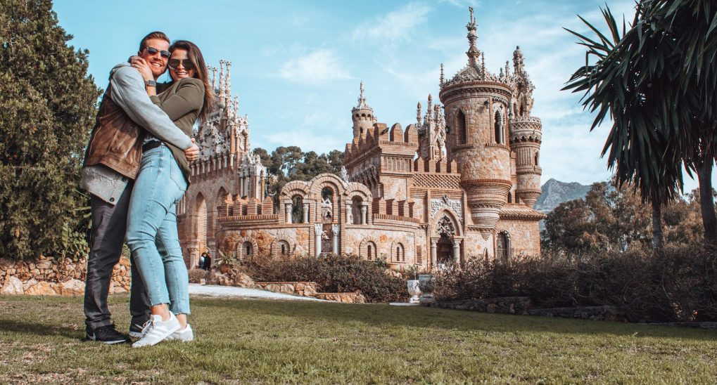 Couple in front of the Castillo de Colomares
