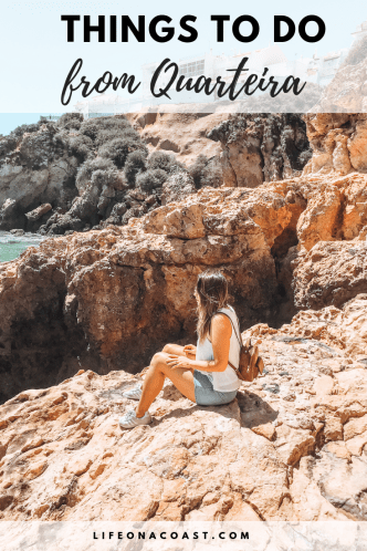 Girl rock formations overlay text quarteira