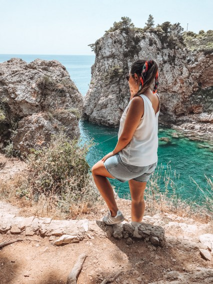 Girl standing looking at the Adriatic Sea