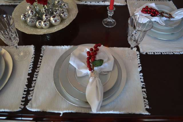 Beautiful Red and Silver Christmas Tablescape