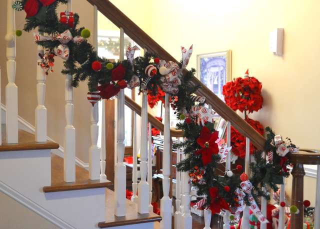 Whimical Garland hanging from the stairs
