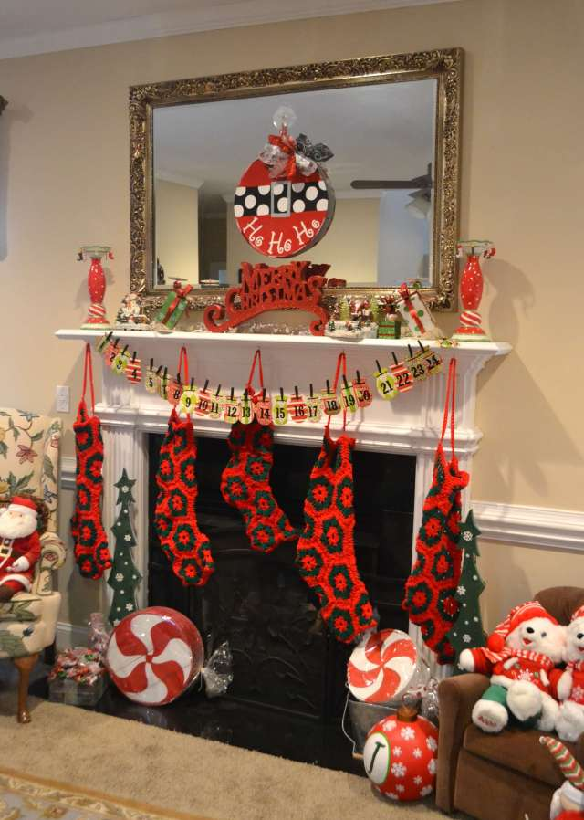 This traditional red and green Christmas Mantel just makes me happy!