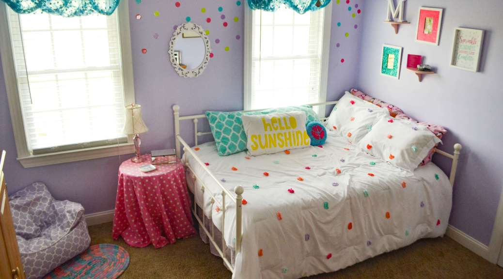 Fun and whimsical glitter, confetti bedroom for a tween girl! One room challenge Makeover Reveal