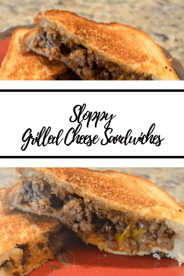 Easy and delicious version of grilled cheese sandwiches with ground beef seasoned like sloppy joes. Perfect for a weeknight dinner!