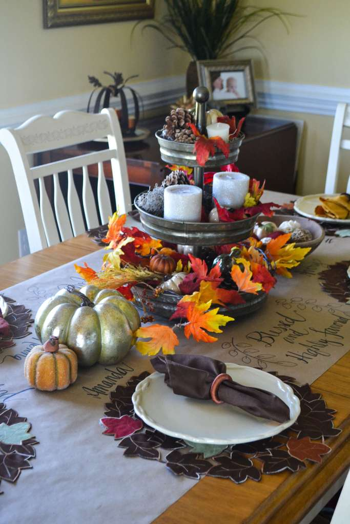 Beautiful table set for Fall! Love the hand-lettering and the bright colors!
