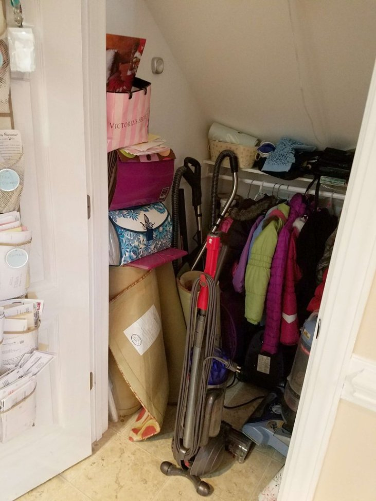 This is the before picture of a closet under the stairs...check out how she made it over into her own office or cloffice