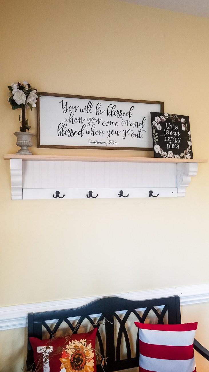 DIY Shelf Tutorial before Staining - Step by Step Instructions for building this beautiful farmhouse shelf! #DIYShelf #DIY
