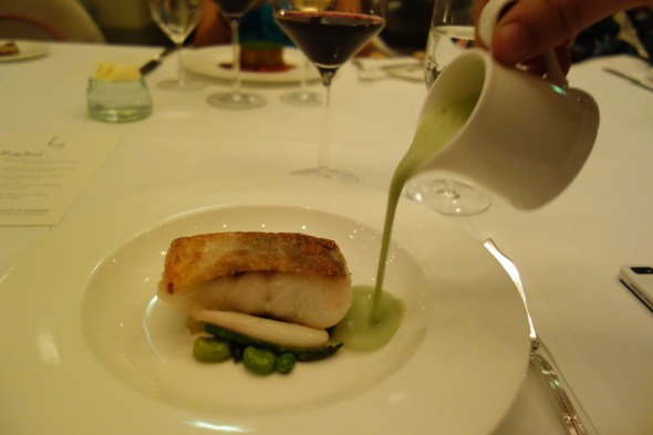 Pan roasted cod with green ea sauce at Gordon Ramsay at St Regis Doha