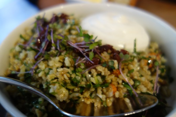 Cracked wheat and freekeh salad, preserved lemon, barberries