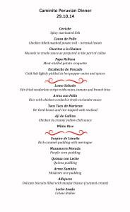 Peruvian Food Festival Menus for each day.