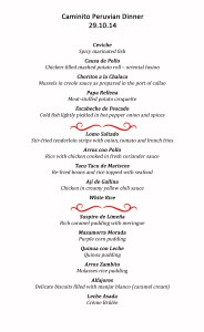 Peruvian Food Festival Menus for each day.