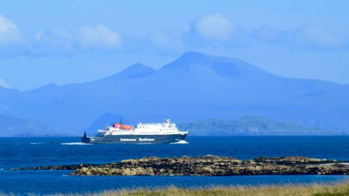 The MV Clansman with Ben More (Mull) in the background