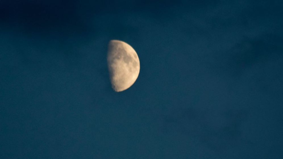 The moon appearing and disappearing