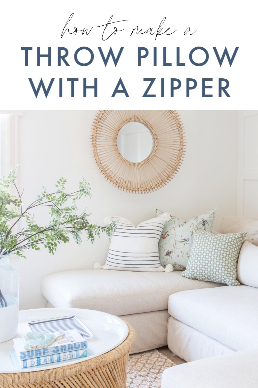 throw pillow with a zipper