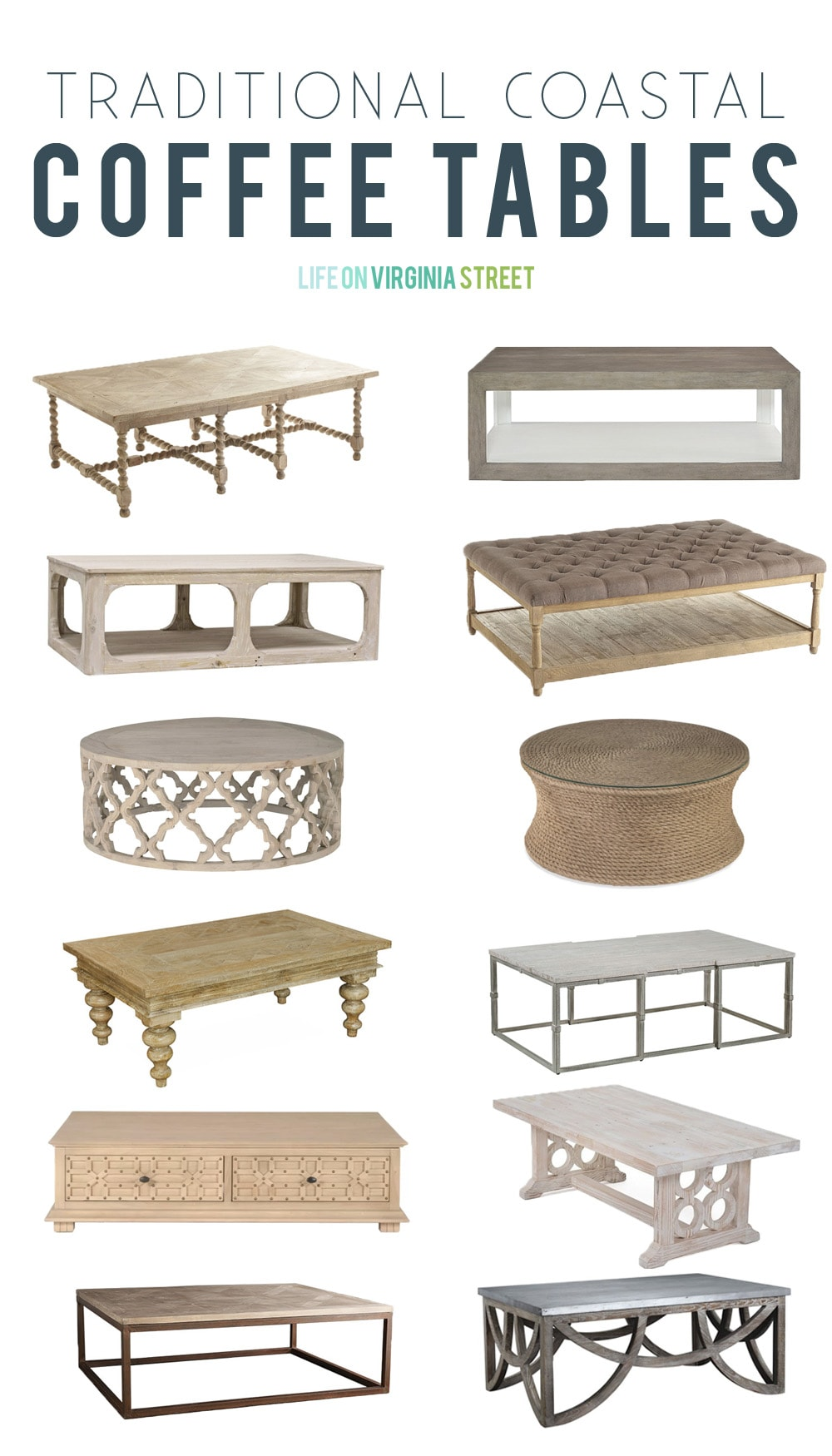 traditional coastal coffee tables