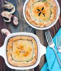 Two vegetarian pot pie's with Mushrooms and Thyme