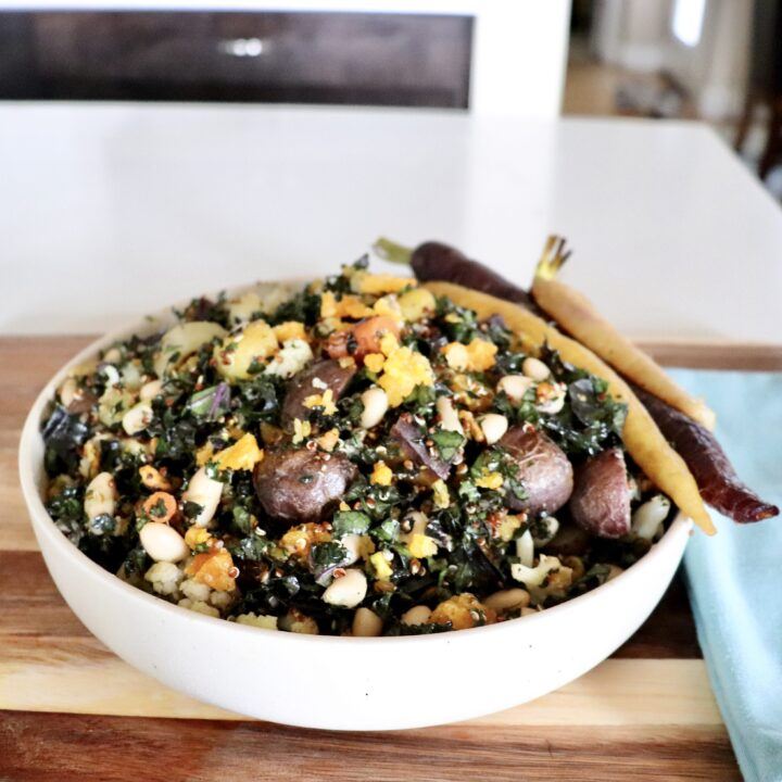 Winter Roasted Veggie Buddha Bowl (Vegan) Ingredients Tossed Together