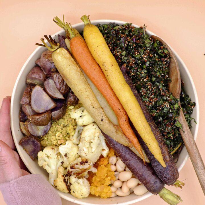 Finished Winter Roasted Veggie Buddha Bowl (Vegan)